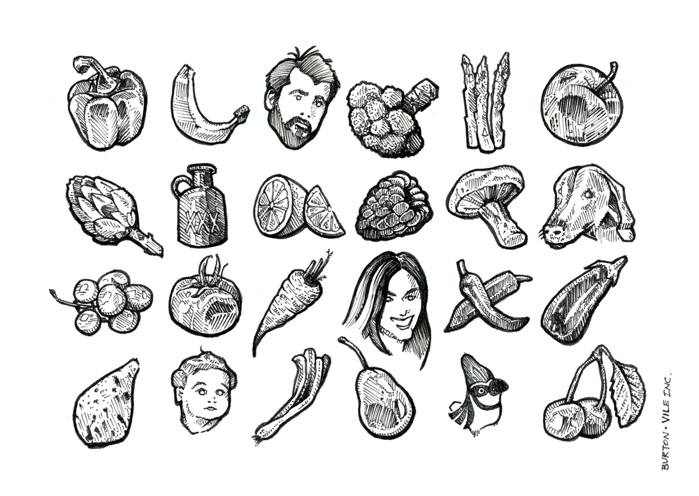 "Pen and Ink, Each icon measures 1"" x 1"", The entire illustration is the size of a standard 4""x6"" postcard"