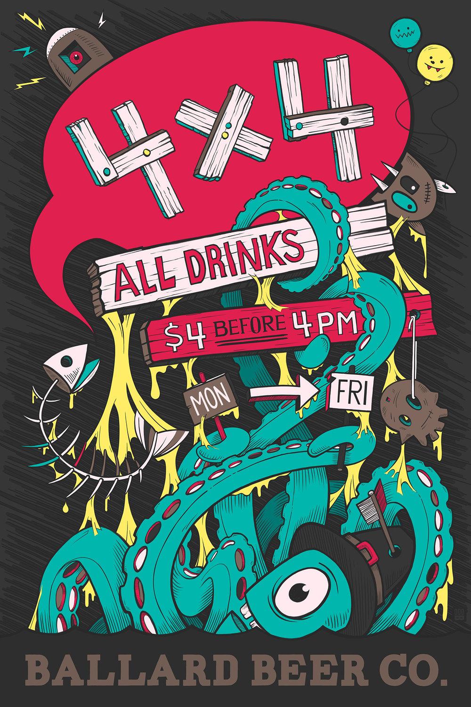 Ballard Beer Company 4x4 Poster