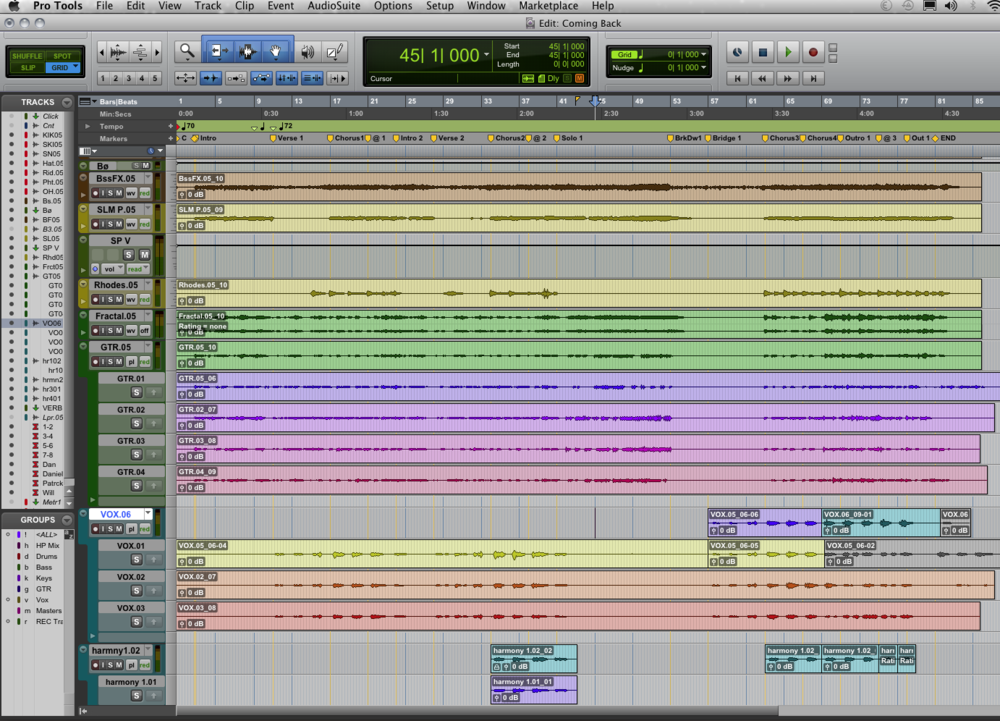 Playlists feature in Pro Tools