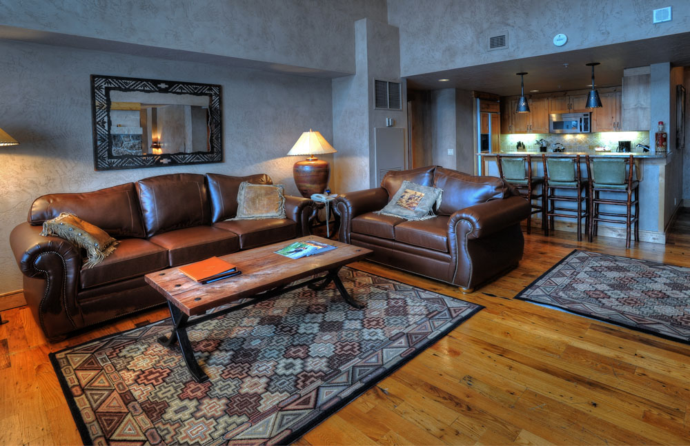 Penthouse - Living Room and Kitchen | Lodging in Steamboat Springs, Colorado