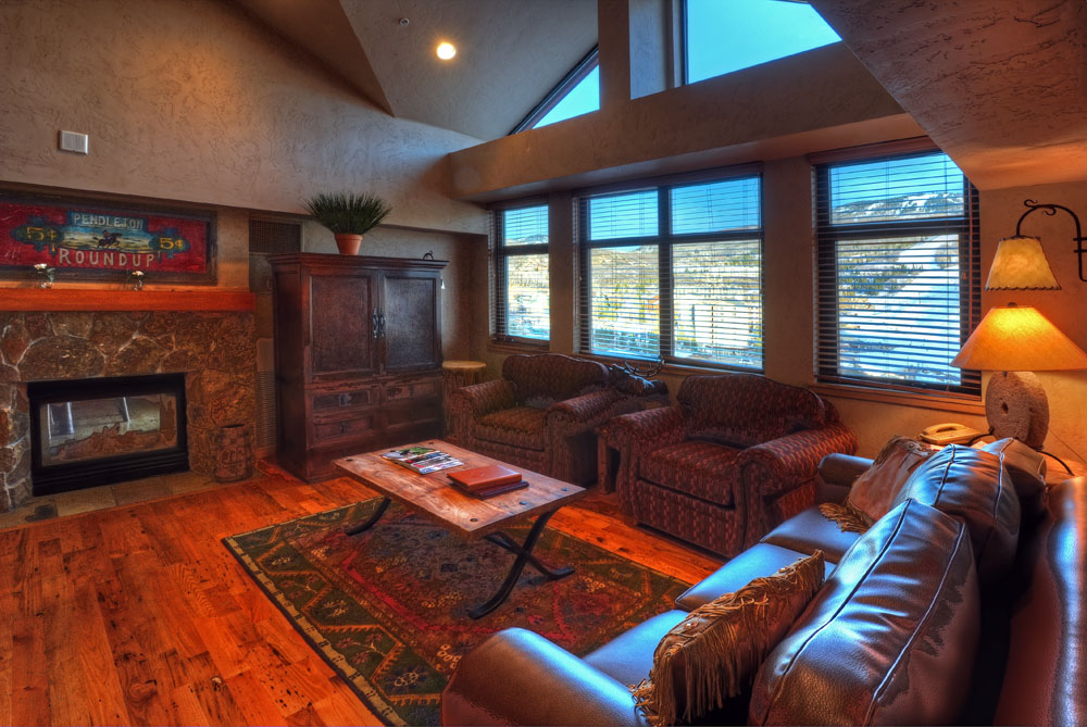 Penthouse - Living Room with Fireplace | Lodging in Steamboat Springs, Colorado