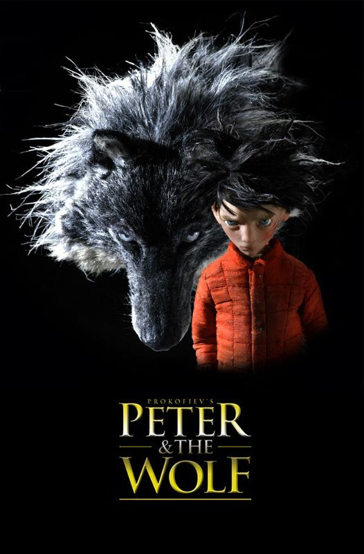 Poster from Suzy Templaton's animated short film of  Peter and the Wolf , based on the musical work by Sergei Prokofiev.