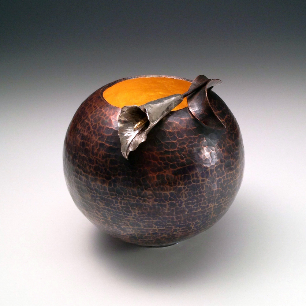 "Raised Copper Vessel with Silver, ""Calla Lily Orb II"""