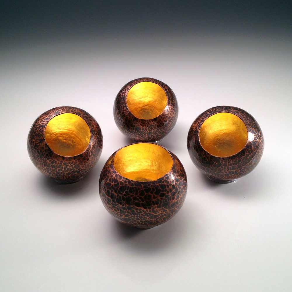 "Raised Copper Vessels, ""Copper Orbs w/ 23K Gold Leaf"""