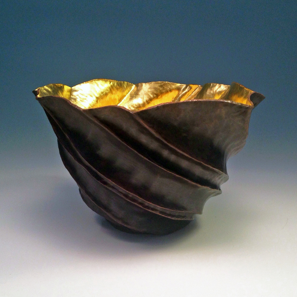 "Raised Copper Vessel, ""TanKin Bowl w/ 23K Gold"""
