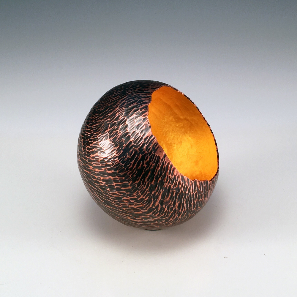 "Raised Copper Vessel, ""Hammer Textured Copper Orb"""