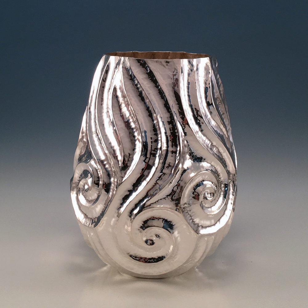 "Raised Silver Vase, ""Winter Tide"""