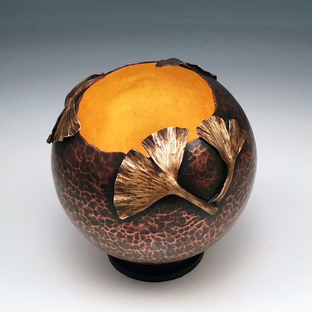 "Raised Copper Vessel, ""Ginkgo Orb"""