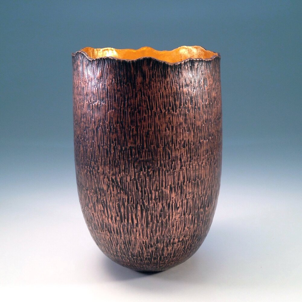 "Raised Copper Vessel, ""Tree Stump Vase"""