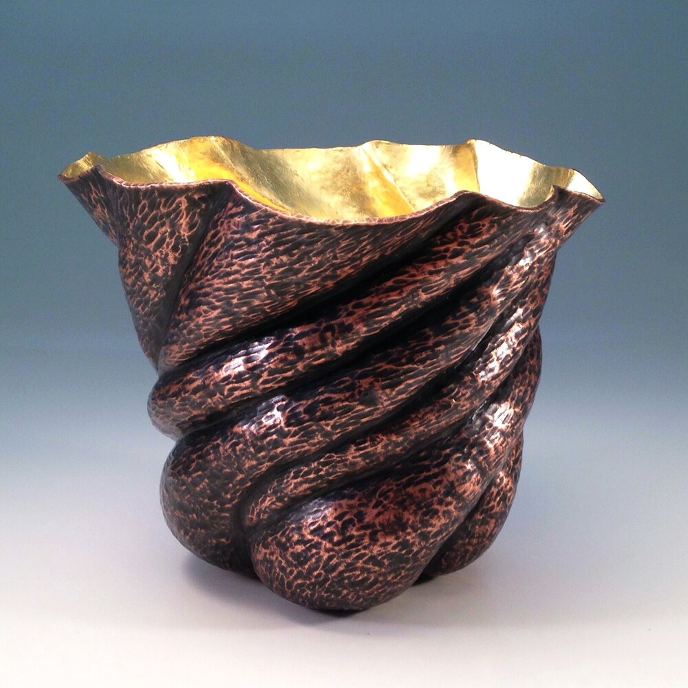 "Raised Copper Vessel, ""Tree Burl Vase"""