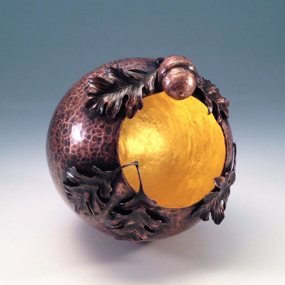 "Raised Copper Vessel, ""Oak & Acorn Orb II"""