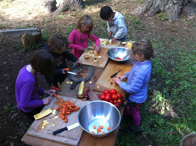 harvesting and preparing soup for equinox celebration