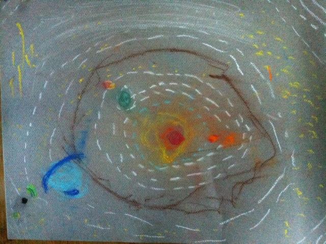solar system in chalk pastel