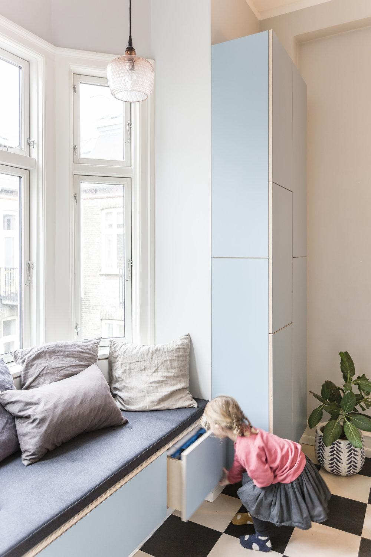 Køkken i blå laminat