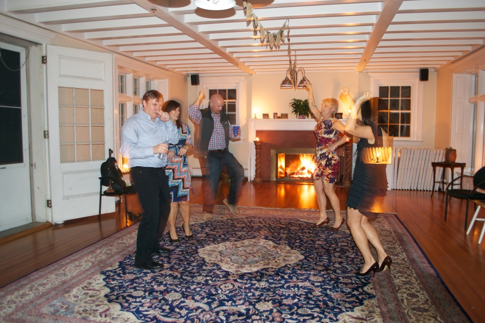 The ballroom is an ideal place for parties -- with a wood burning fireplace!