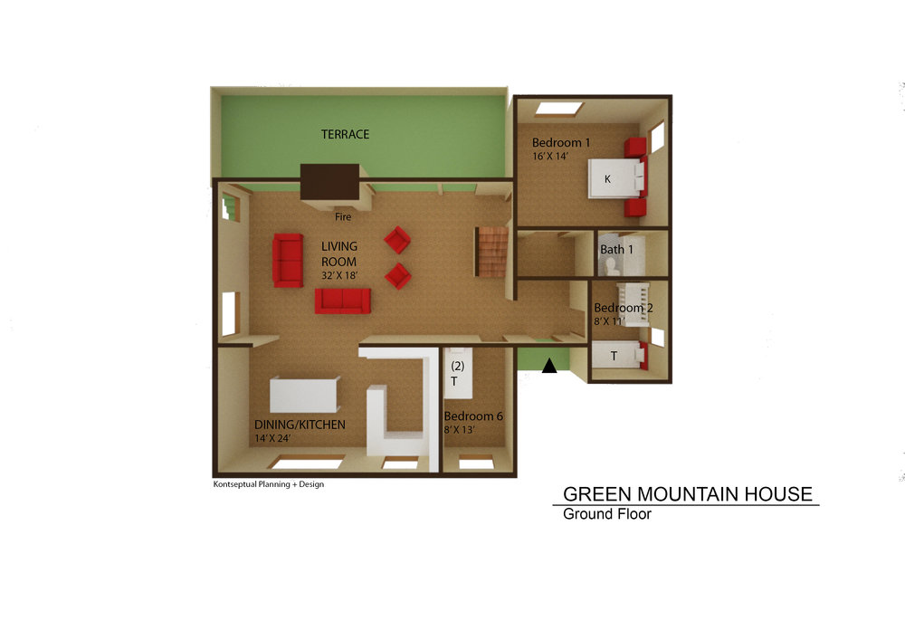 Green Mt House Floor plan Ground Fl.