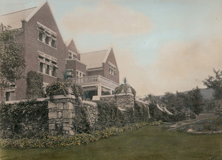 Wallace nutting 1910 hand painted photo of the Wilburton Mansion