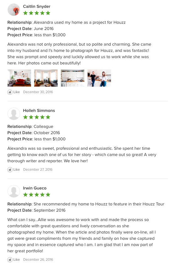 Houzz Reviews for Allie Crafton