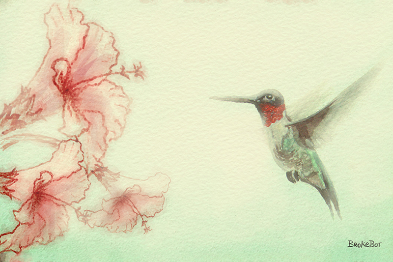 A Humming Bird and Flowers (F).jpg
