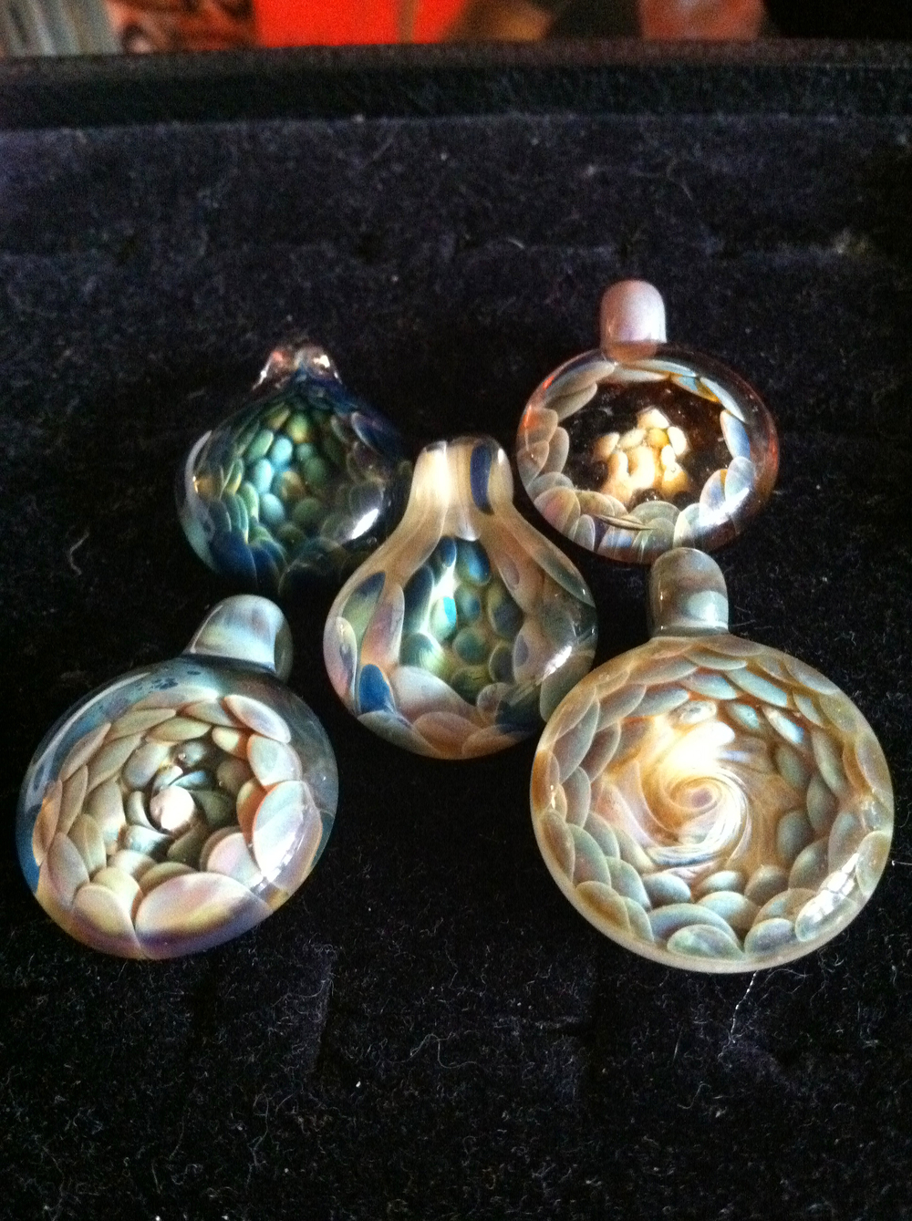 Spiral world pendants made in 2011.  Sold.