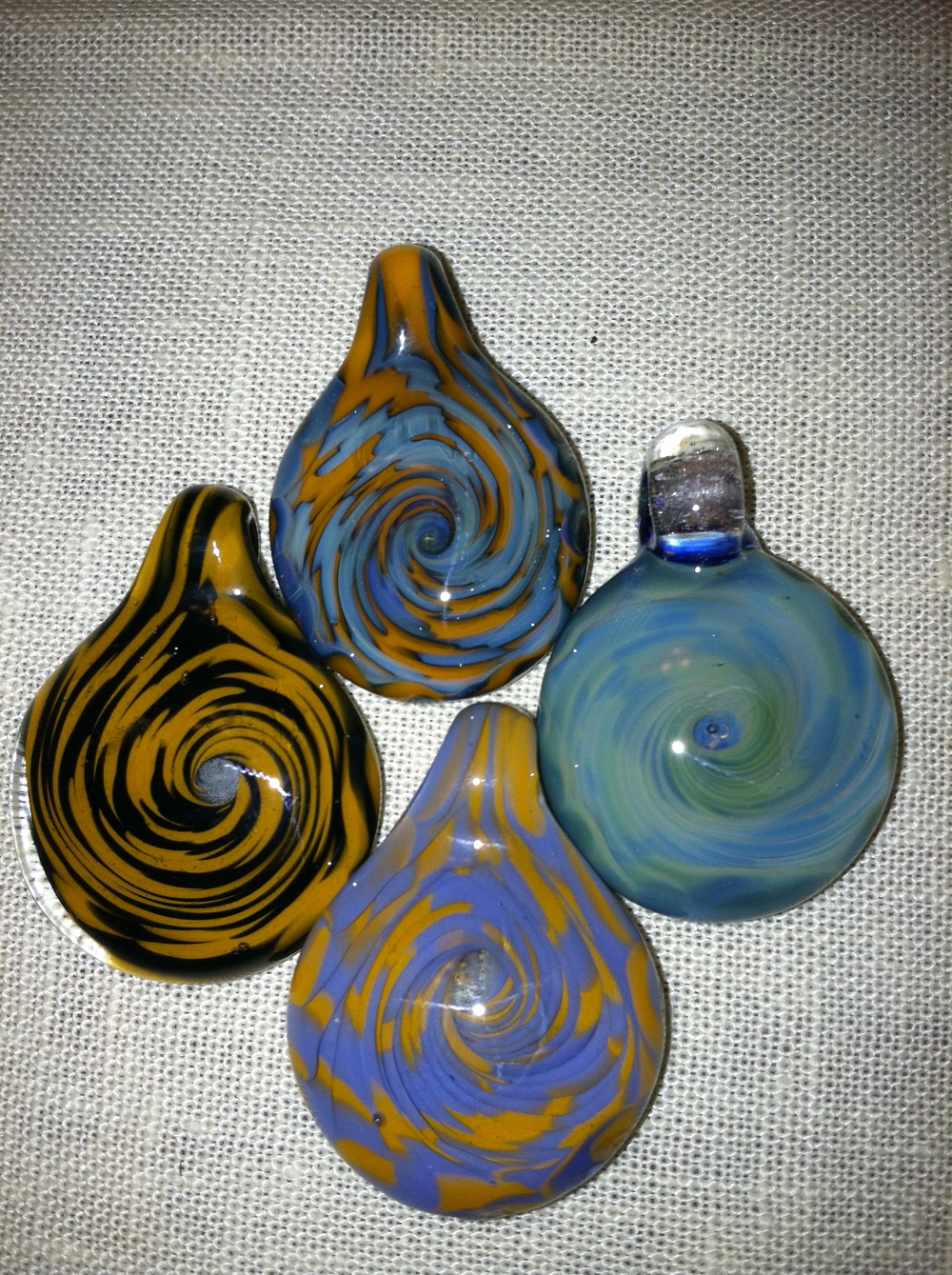 Cane Spiral pendants made in early 2012.   Sold.