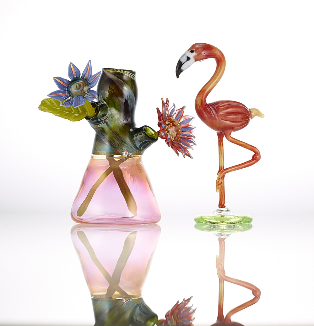 Flamingo and Vase with Flowers