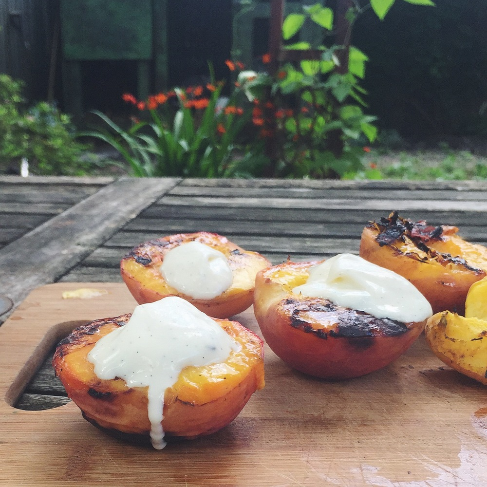Grilled Peaches with Vanilla Mascarpone — Sweets & Bitters