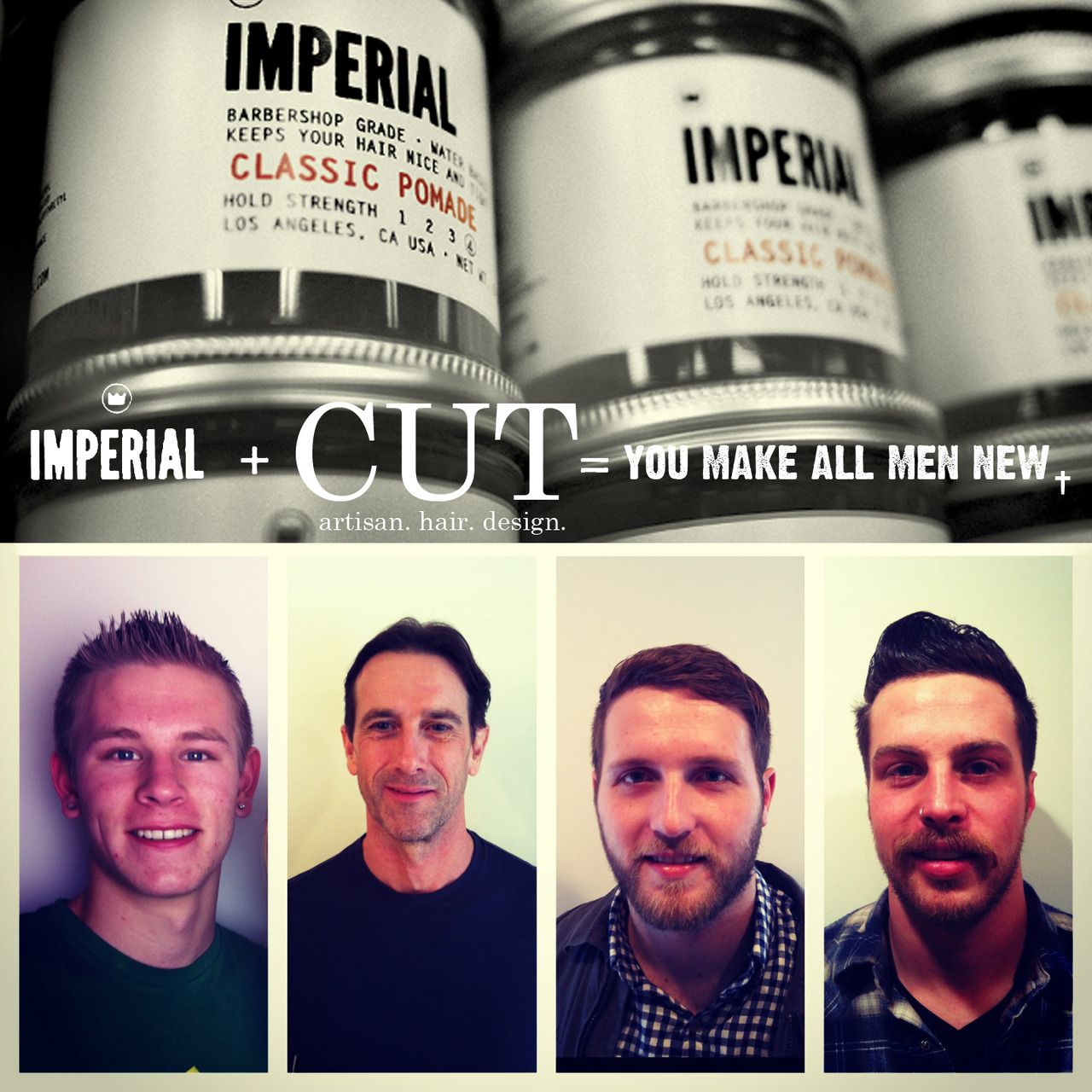 Cut- artisan. hair. design. , New Jersey.  Advertisement for new product line from Imperial Barber Products.