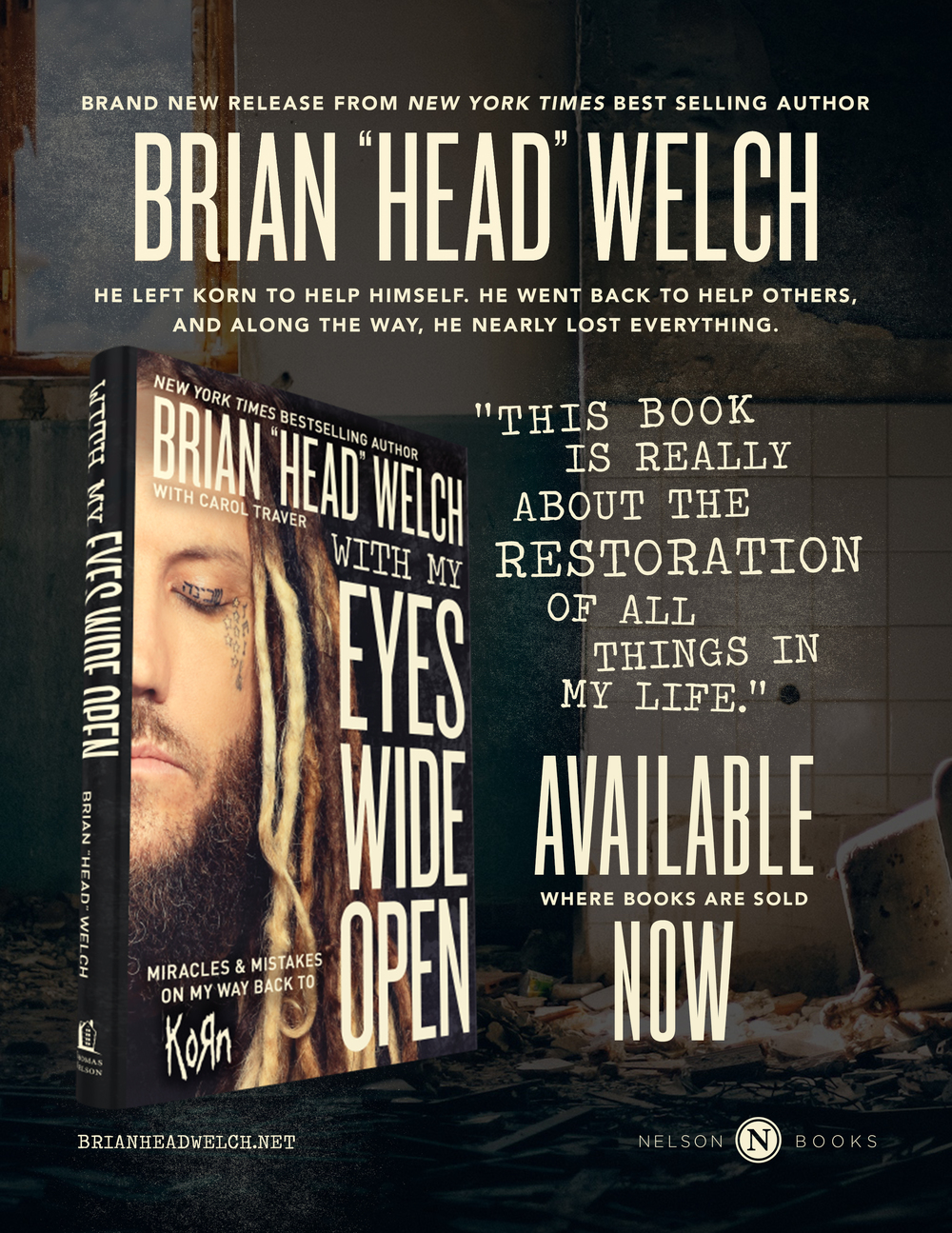 "Full Page Advertisement | ""Eyes Wide Open"" by Brian Head Welch 