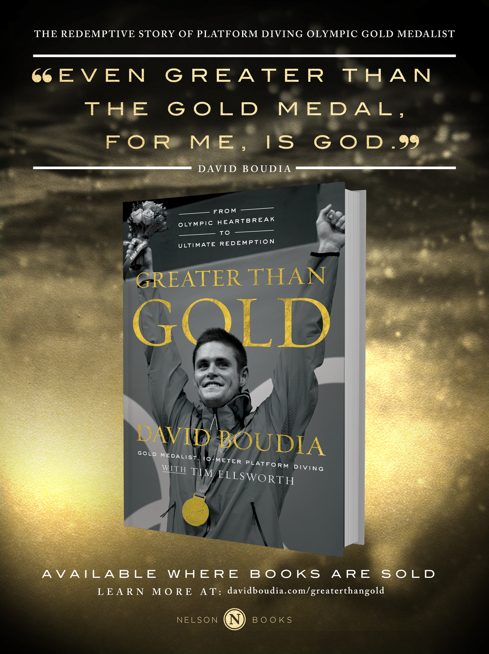 Advertisement design | Nelson Books - Harper Collins Publishing | Greater Than Gold, David Boudia