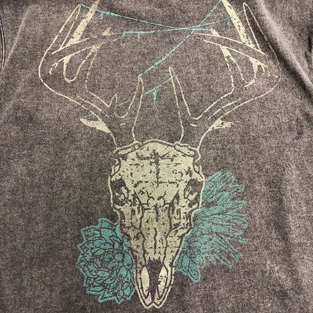 "Thanks to skulls and succulents of las cruces for providing Netflix with their design for an upcoming series. The designer asked us to make it look ""vintage and worn"" #skullsandsucculents #screenprinting #pressandheart #vintage #vintageclothing #netflix #distressedtshirt #abq #nmtrue #printlife"