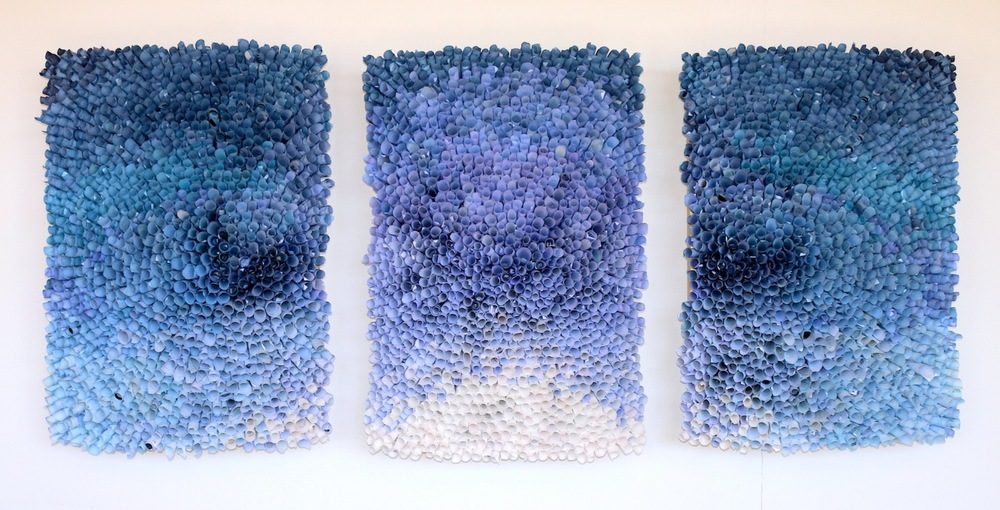 "Drifting, Daydreaming , Triptych with hand-dyed paper, wood, paint, and silicon, approx. 40x72"", 2015"