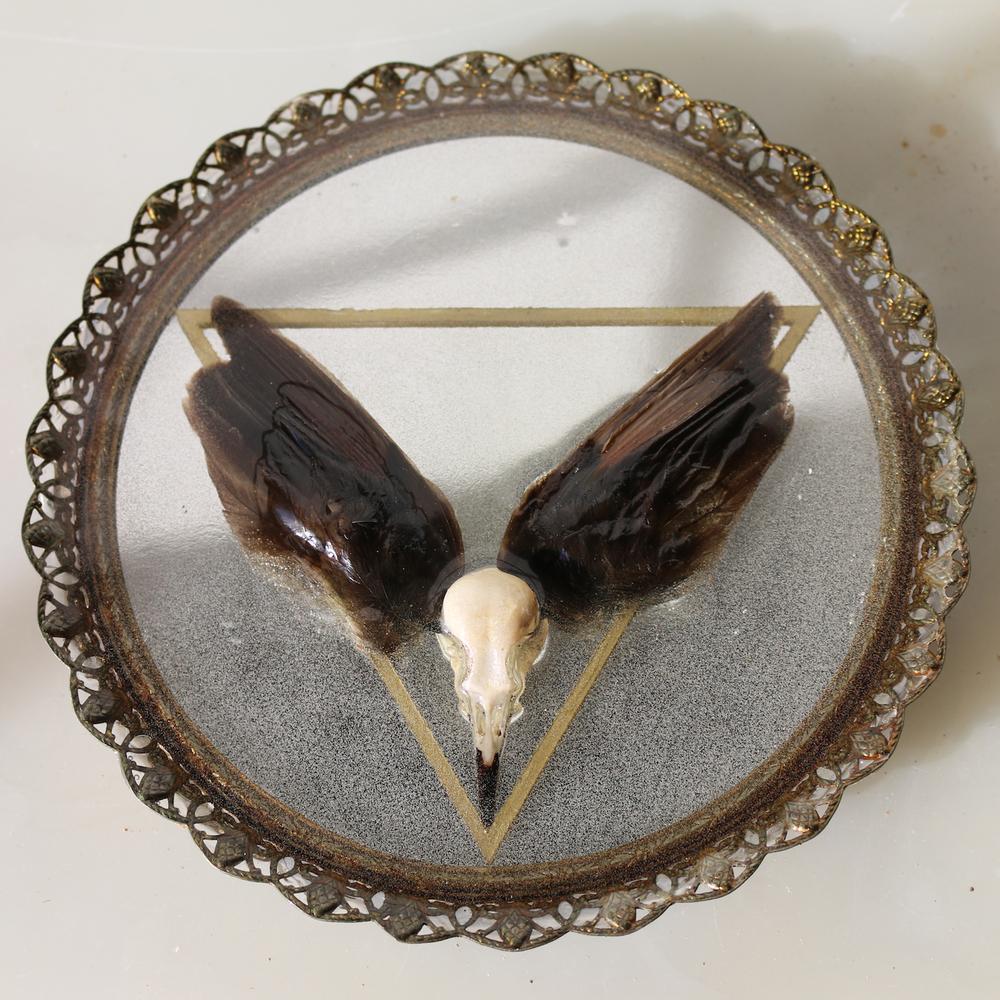 """Delta , mirror, bird skull and wings, gold enamel, resin, approx. 8x8"""", 2015."""