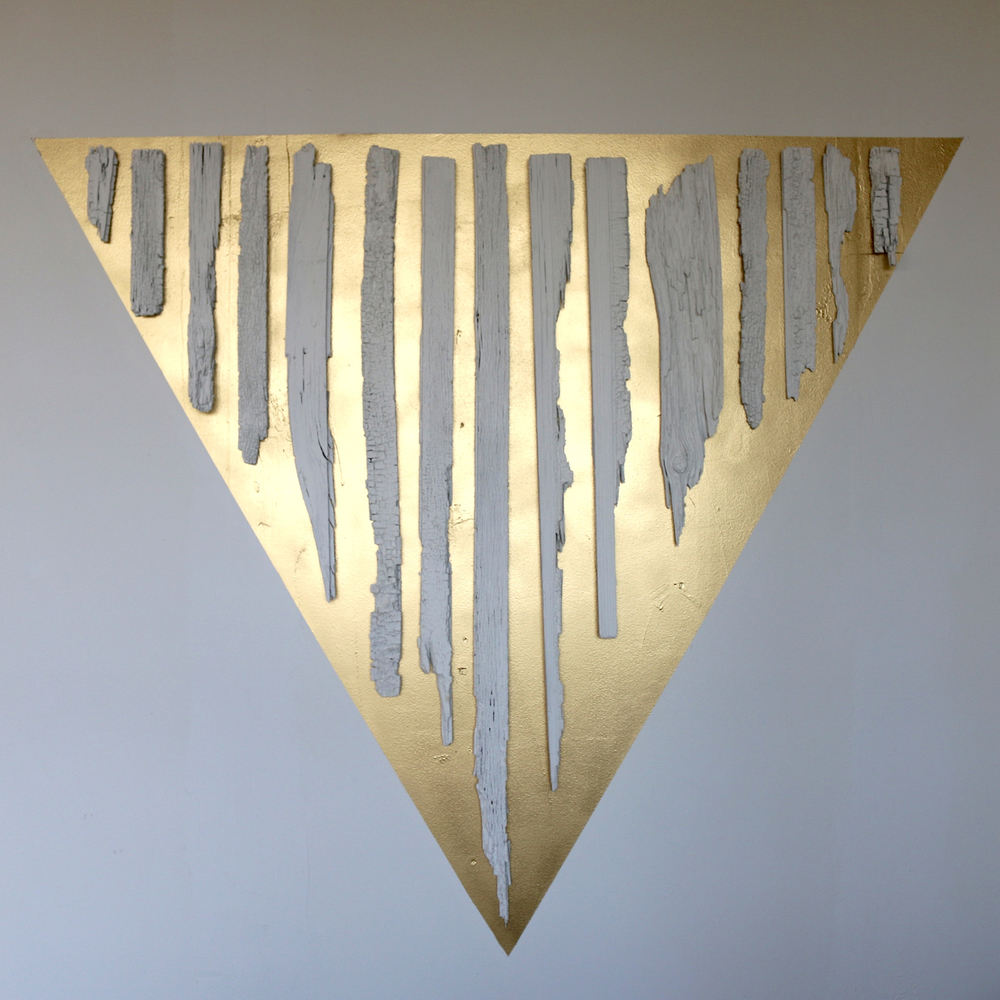 "Alchemy, Runes of Ruins,  paint, reclaimed wood, 70x65"", 2015, Price: $1000."