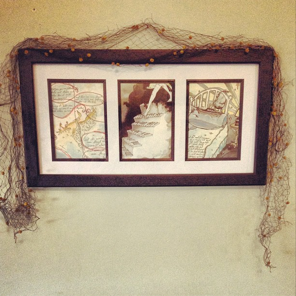 Framed Watercolor triptych of illustrations.