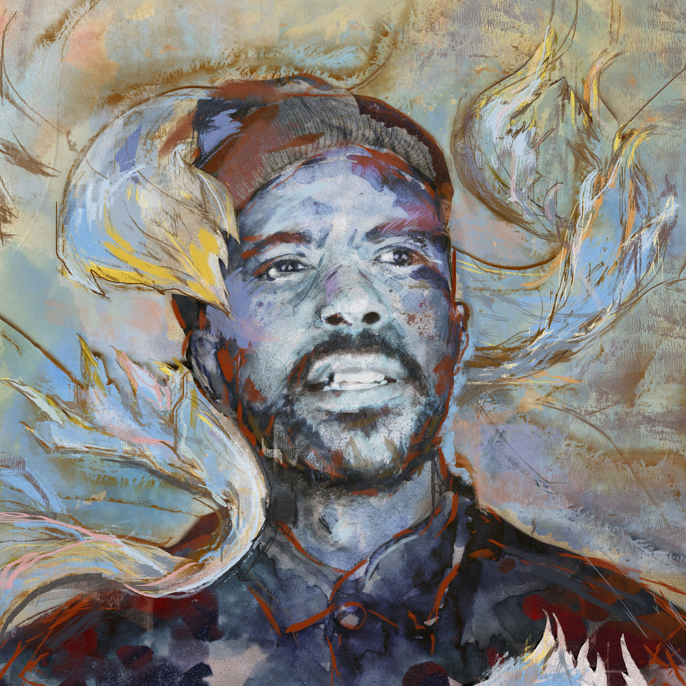 Mixed media portrait of  Ben Lamar Gay,  album forthcoming