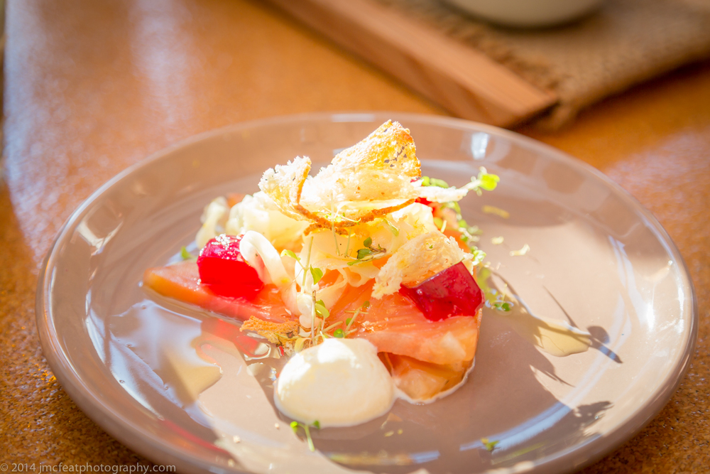 cured salmon, pickled fennel, beetroot jelly, crème fraîche, sourdough crouton | the cupping room, canberra