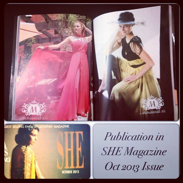 Publication in the Pakistani magazine SHE! Photos by Belinda Watts and fashion by Mohammad Ali.