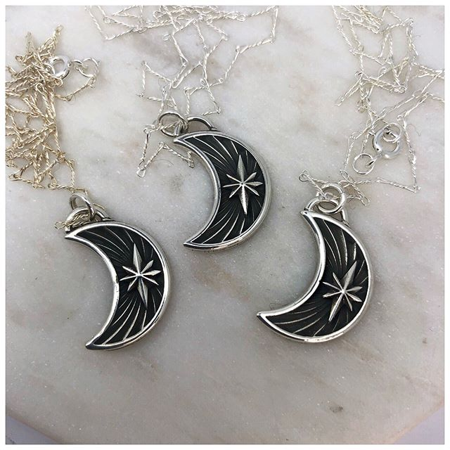 Crescent Star necklaces now available!  Honeyandgoldies.com-Made To Order