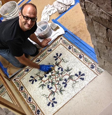 Me installing Floral Vine floor mosaic.jpg