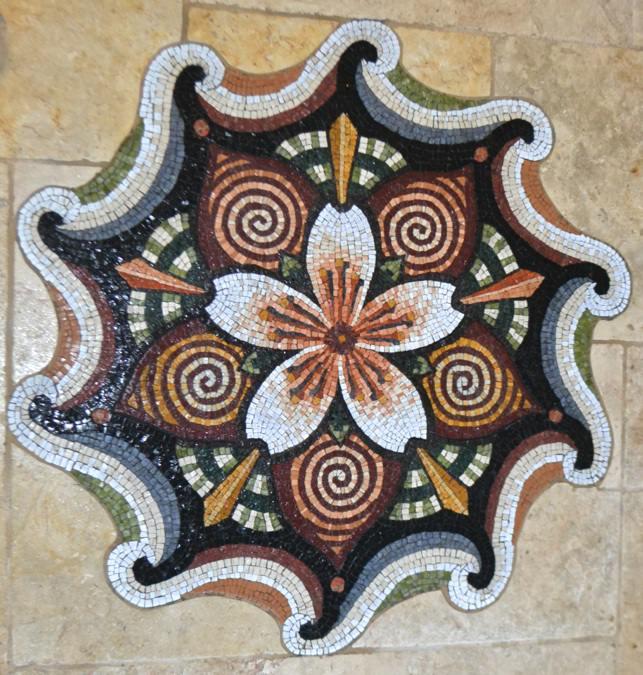 "Cherry Blossom Mandala   2012, stone, 32"" diameter, commissioned floor mandala private residence-Belmont, CA"