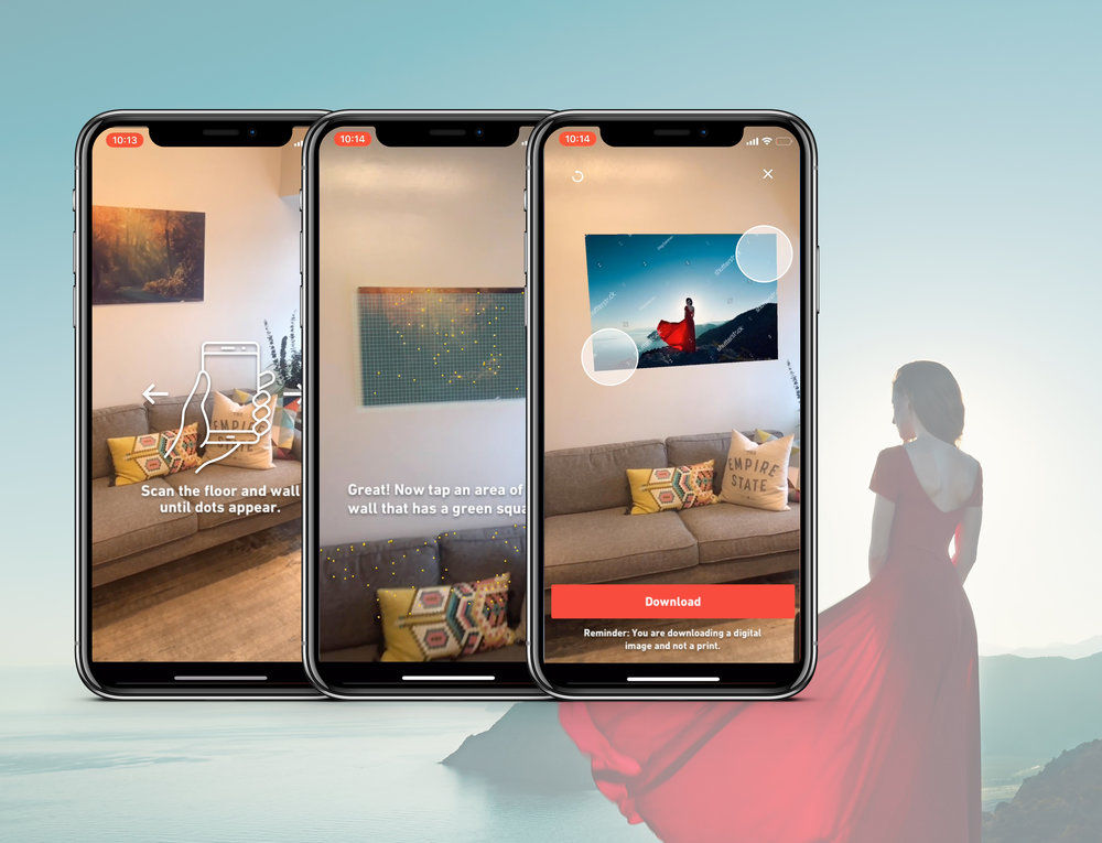 Screens showcasing the steps of creating AR with Shutterstock assets.