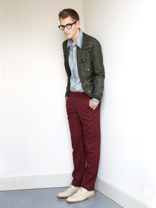 Alexander wears glasses by Forever 21, jacket by Y.M.C., shirt by Nobody, pants by BBlessing and shoes by Florsheim by Duckie Brown.