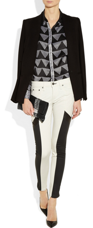 Blazer by Helmut Lang, shirt by Equipment, jeans by Rag & Bone, pumps and clutch by Jimmy Choo and ring by Eddie Borgo..