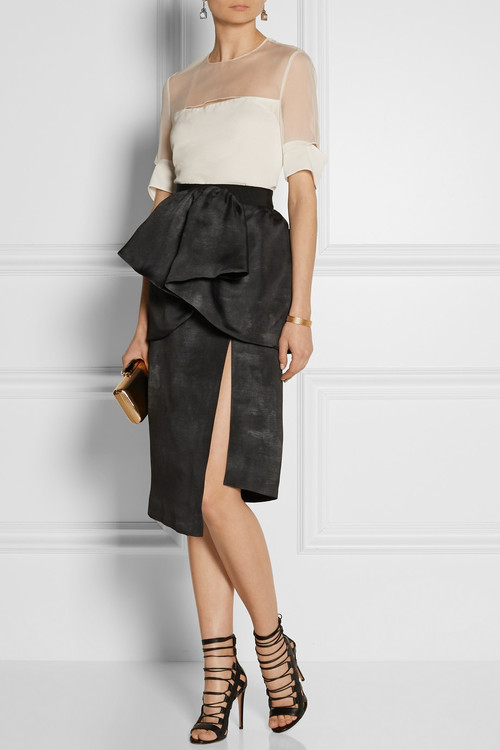 Top by Roland Mouret, skirt and clutch by Lanvin, sandals by Aquazurra and earrings by Marni.