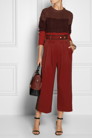 Knit and pants by Marc by Marc Jacobs, bag by Diane von Furstenberg, sandals by Givenchy and bracelet by Valentino.