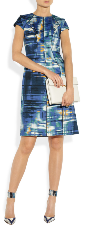 Dress by Lela Rose, clutch by Marni and shoes by Altuzarra.
