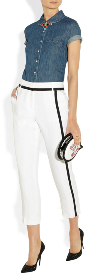 Shirt, pant and necklace by J. Crew, bag by Sophia Webster and pumps by Jimmy Choo.