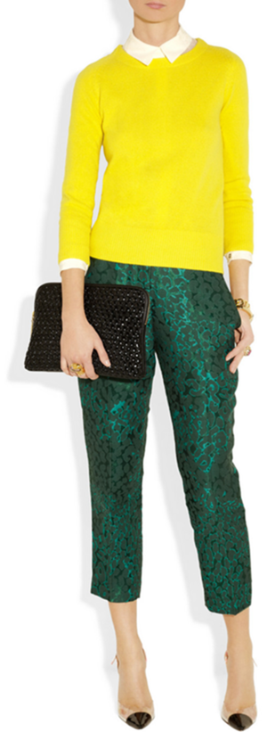 Knit by Diane Von Furstenberg, shirt by Valentino, pants by J. Crew, clutch by 3.1 Phillip Lim and pumps by Sophia Webster.