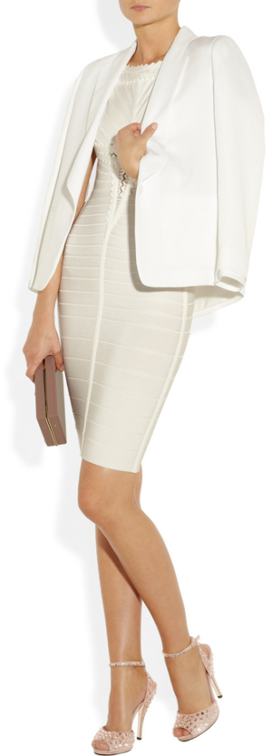 Blazer by Band Of Outsiders, dress by Herve Leger, clutch by Charlotte Olympia and sandals by Gucci.